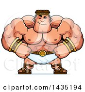 Clipart Of A Cartoon Smug Buff Muscular Hercules Royalty Free Vector Illustration