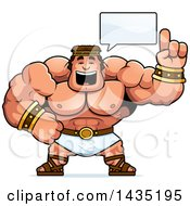 Clipart Of A Cartoon Buff Muscular Hercules Talking Royalty Free Vector Illustration by Cory Thoman