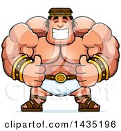Clipart Of A Cartoon Buff Muscular Hercules Giving Two Thumbs Up Royalty Free Vector Illustration by Cory Thoman