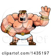 Clipart Of A Cartoon Buff Muscular Hercules Waving Royalty Free Vector Illustration by Cory Thoman