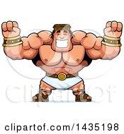 Cartoon Buff Muscular Hercules Cheering