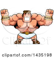 Clipart Of A Cartoon Buff Muscular Hercules Cheering Royalty Free Vector Illustration by Cory Thoman