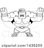 Clipart Of A Cartoon Black And White Lineart Buff Muscular Hercules Holding His Fists In Balls Of Rage Royalty Free Vector Illustration by Cory Thoman
