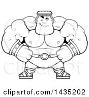 Clipart Of A Cartoon Black And White Lineart Smug Buff Muscular Hercules Royalty Free Vector Illustration by Cory Thoman