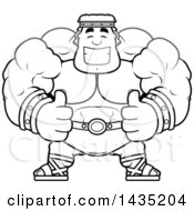 Clipart Of A Cartoon Black And White Lineart Buff Muscular Hercules Giving Two Thumbs Up Royalty Free Vector Illustration by Cory Thoman