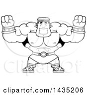 Clipart Of A Cartoon Black And White Lineart Buff Muscular Hercules Cheering Royalty Free Vector Illustration by Cory Thoman