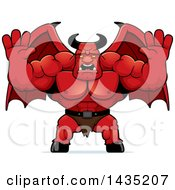 Clipart Of A Cartoon Buff Muscular Demon Holding His Hands Up And Screaming Royalty Free Vector Illustration by Cory Thoman