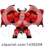 Cartoon Buff Muscular Demon Holding His Fists In Balls Of Rage
