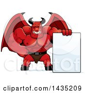 Clipart Of A Cartoon Buff Muscular Demon With A Blank Sign Royalty Free Vector Illustration by Cory Thoman