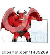 Cartoon Buff Muscular Demon With A Blank Sign