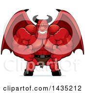 Clipart Of A Cartoon Buff Muscular Demon Giving Two Thumbs Up Royalty Free Vector Illustration by Cory Thoman