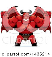Clipart Of A Cartoon Buff Muscular Demon Cheering Royalty Free Vector Illustration