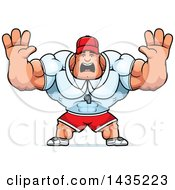 Clipart Of A Cartoon Buff Muscular Sports Coach Holding His Hands Up And Screaming Royalty Free Vector Illustration