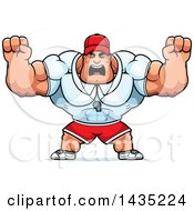 Cartoon Buff Muscular Sports Coach Holding His Fists In Balls Of Rage