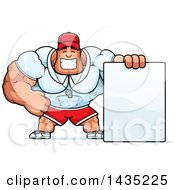 Clipart Of A Cartoon Buff Muscular Sports Coach With A Blank Sign Royalty Free Vector Illustration