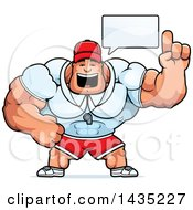 Clipart Of A Cartoon Buff Muscular Sports Coach Talking Royalty Free Vector Illustration