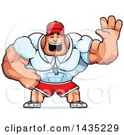 Clipart Of A Cartoon Buff Muscular Sports Coach Waving Royalty Free Vector Illustration