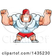 Clipart Of A Cartoon Buff Muscular Sports Coach Cheering Royalty Free Vector Illustration by Cory Thoman