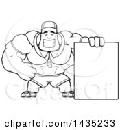Clipart Of A Cartoon Black And White Lineart Buff Muscular Sports Coach With A Blank Sign Royalty Free Vector Illustration