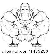 Cartoon Black And White Lineart Buff Muscular Sports Coach Giving Two Thumbs Up
