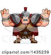 Clipart Of A Cartoon Buff Muscular Centurion Soldier Holding His Hands Up And Screaming Royalty Free Vector Illustration by Cory Thoman