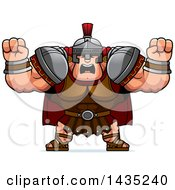 Poster, Art Print Of Cartoon Buff Muscular Centurion Soldier Holding His Fists In Balls Of Rage