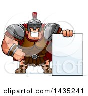 Clipart Of A Cartoon Buff Muscular Centurion Soldier With A Blank Sign Royalty Free Vector Illustration by Cory Thoman