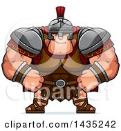 Clipart Of A Cartoon Smug Buff Muscular Centurion Soldier Royalty Free Vector Illustration