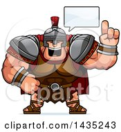 Clipart Of A Cartoon Buff Muscular Centurion Soldier Talking Royalty Free Vector Illustration by Cory Thoman