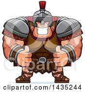 Poster, Art Print Of Cartoon Buff Muscular Centurion Soldier Giving Two Thumbs Up