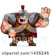 Poster, Art Print Of Cartoon Buff Muscular Centurion Soldier Waving