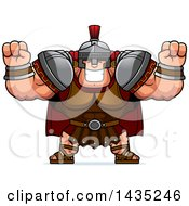 Poster, Art Print Of Cartoon Buff Muscular Centurion Soldier Cheering