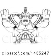 Poster, Art Print Of Cartoon Black And White Lineart Buff Muscular Centurion Soldier Holding His Hands Up And Screaming
