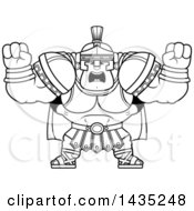 Cartoon Black And White Lineart Buff Muscular Centurion Soldier Holding His Fists In Balls Of Rage