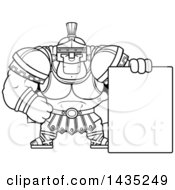 Cartoon Black And White Lineart Buff Muscular Centurion Soldier With A Blank Sign