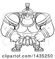 Poster, Art Print Of Cartoon Black And White Lineart Smug Buff Muscular Centurion Soldier