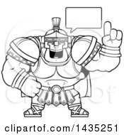 Cartoon Black And White Lineart Buff Muscular Centurion Soldier Talking