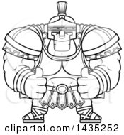 Poster, Art Print Of Cartoon Black And White Lineart Buff Muscular Centurion Soldier Giving Two Thumbs Up