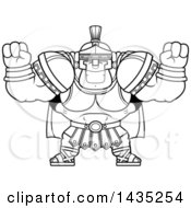 Poster, Art Print Of Cartoon Black And White Lineart Buff Muscular Centurion Soldier Cheering