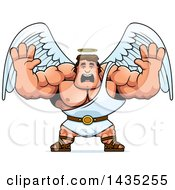 Clipart Of A Cartoon Buff Muscular Male Angel Holding His Hands Up And Screaming Royalty Free Vector Illustration