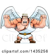 Clipart Of A Cartoon Buff Muscular Male Angel Holding His Fists In Balls Of Rage Royalty Free Vector Illustration