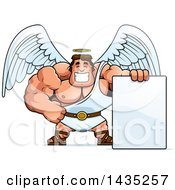 Clipart Of A Cartoon Buff Muscular Male Angel With A Blank Sign Royalty Free Vector Illustration