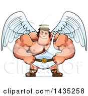 Clipart Of A Cartoon Smug Buff Muscular Male Angel Royalty Free Vector Illustration