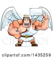 Clipart Of A Cartoon Talking Buff Muscular Male Angel Royalty Free Vector Illustration