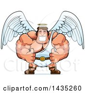 Clipart Of A Cartoon Buff Muscular Male Angel Giving Two Thumbs Up Royalty Free Vector Illustration