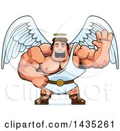 Clipart Of A Cartoon Buff Muscular Male Angel Waving Royalty Free Vector Illustration