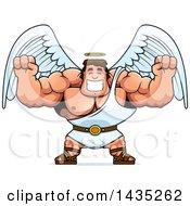 Poster, Art Print Of Cartoon Buff Muscular Male Angel Cheering