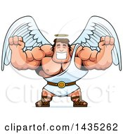 Clipart Of A Cartoon Buff Muscular Male Angel Cheering Royalty Free Vector Illustration