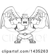 Clipart Of A Cartoon Black And White Lineart Buff Muscular Male Angel Holding His Hands Up And Screaming Royalty Free Vector Illustration