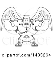 Clipart Of A Cartoon Black And White Lineart Buff Muscular Male Angel Holding His Fists In Balls Of Rage Royalty Free Vector Illustration